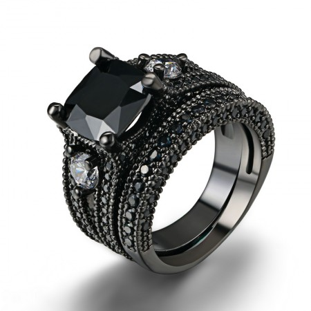 Domineering Personality Charming Copper Plated Black Gold Inlaid CZ Ring Set Of Woman
