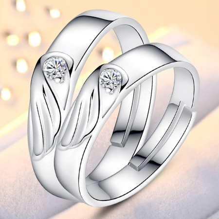 925 Sterling Silver Creative Romantic Wings Of Angels Couple Rings