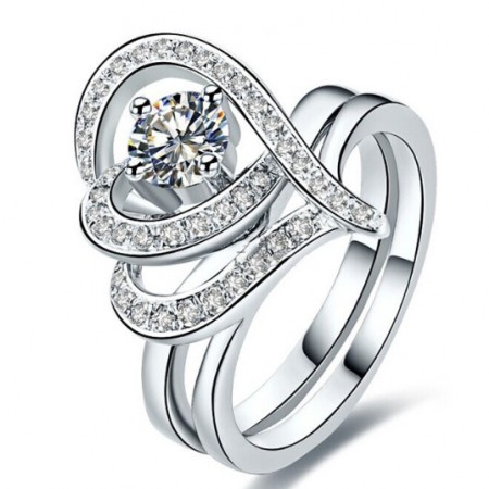Dazzling Exaggerated Heart-Shaped Sterling Silver Inlaid CZ Engagement Ring Set