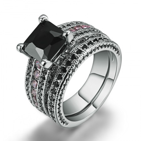 Exquisite Polishing Never Fade Copper Plated White Gold Inlaid Gemstones Ring Set