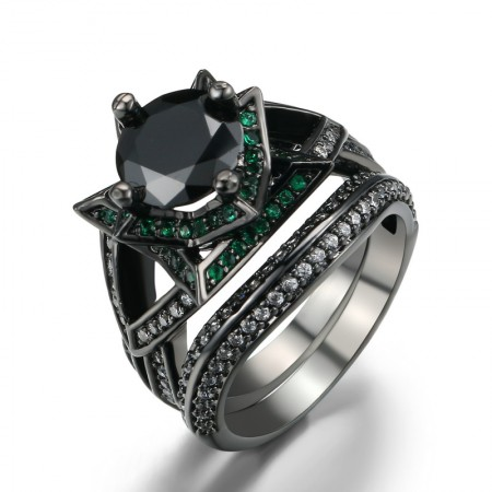 Europe Unique Personality Black Gold Inlaid High-End Cz Flower-Shaped Ring Set