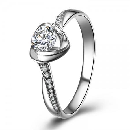 Heart-Shaped Rose Petals Type 0.5ct Cubic Zirconia Elegant Engagement Ring