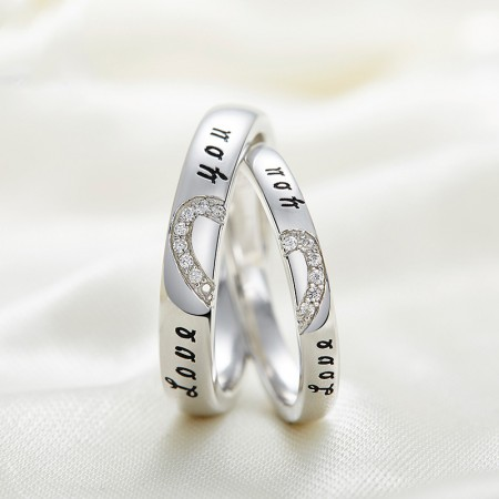 S925 Silver Simple  Korean Crystal Wild Have Mutual Affinity Couple Rings