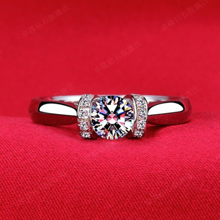 Beautiful Flower Shape 925 Sterling Silver Inlaid Quality Gems Engagement Ring