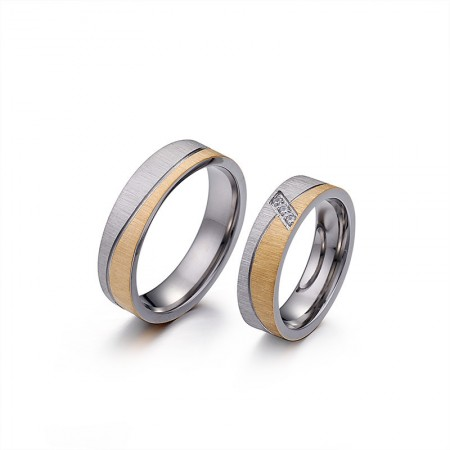 Gold And Silver Bicolor Frosted Titanium Steel Lovers Couple Rings
