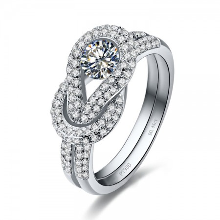 Lasting Mark Exclusive Original 925 Sterling Silver Inlaid CZ Engagement Ring