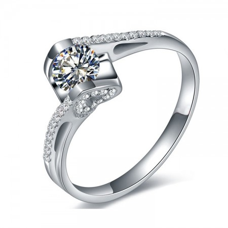 Kiss Of Angel Creative Heart Shaped Micro Pave Cubic Zirconia Engagement Ring
