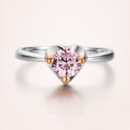 925 Silver Plated 18K Gold Inlay Pink Cubic Zirconia Heart-Shaped Engagement Ring