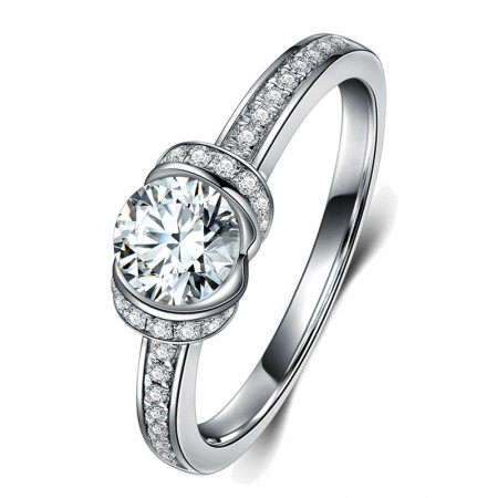 New Contracted Classic 925 Sterling Silver Plated Platinum Engagement Ring