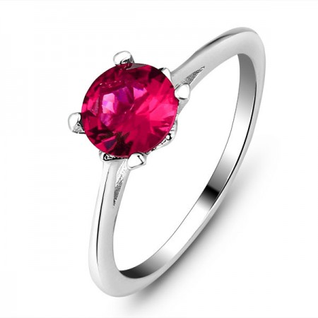 925 Sterling Silver Inlaid Red Corundum Classic Four-Claw Style Woman's Ring