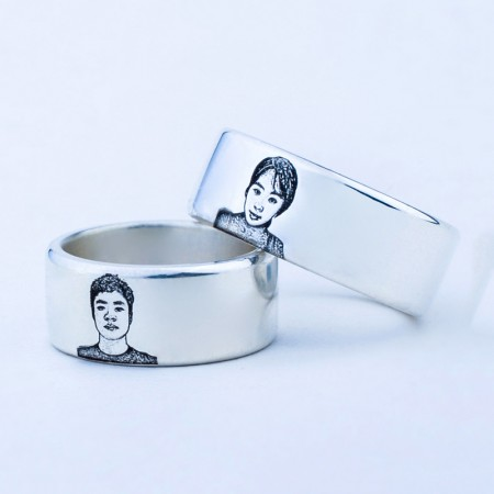 Private Custom Sterling Silver Personalized Creative DIY Lettering Couple Rings