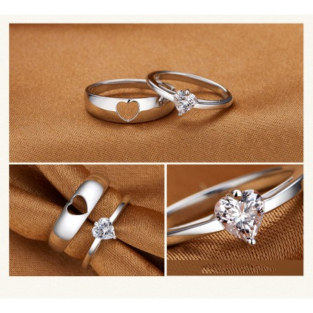 Korean Version Of The Simple Hollow Heart-Shaped 925 Sterling Silver Couple Rings