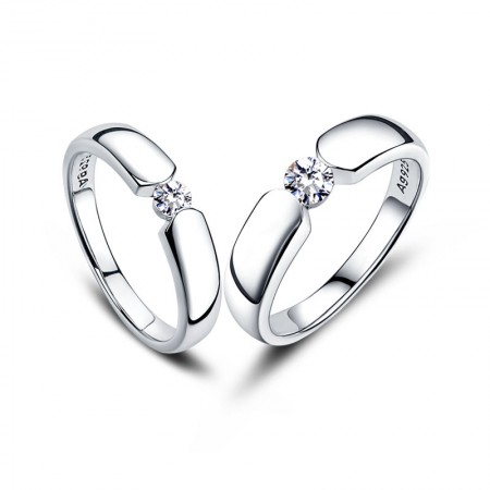 Leading Technology Focus On Details 925 Silver Plated Platinum Couple Rings