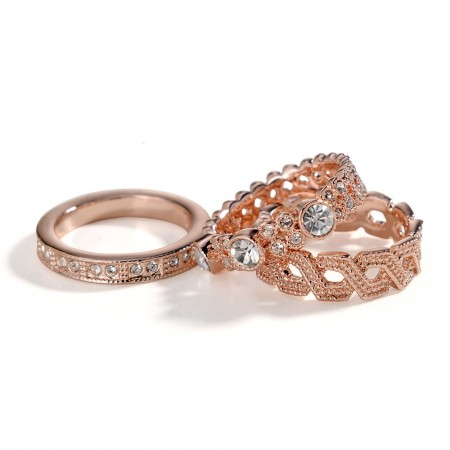 New Fashion Exaggerated Inlaid Luxury Cubic Zirconia Combination Ring