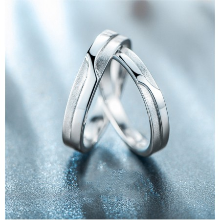925 Silver Fine Matte Highly Polished Fashion Personality Couple Rings