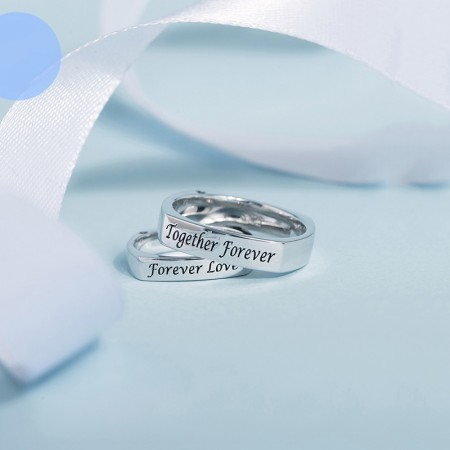 Comfortable Texture Simple Lettering 925 Sterling Silver Couple Rings
