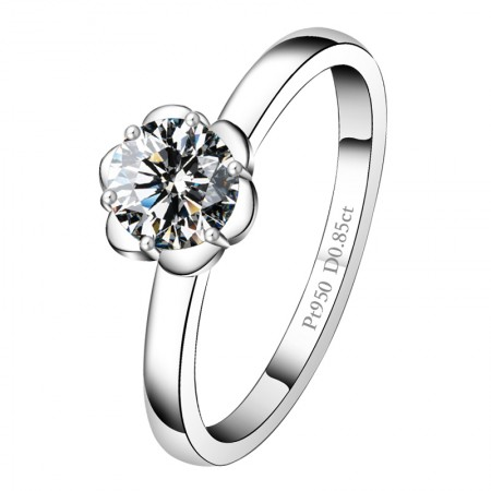 Classic Six-Claw Design Flower-Shaped Wedding/Engagement Ring