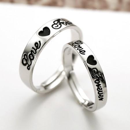 "Korean Simple Lettering ""Love Forever"" Heart Shaped S925 Silver Couple Rings"