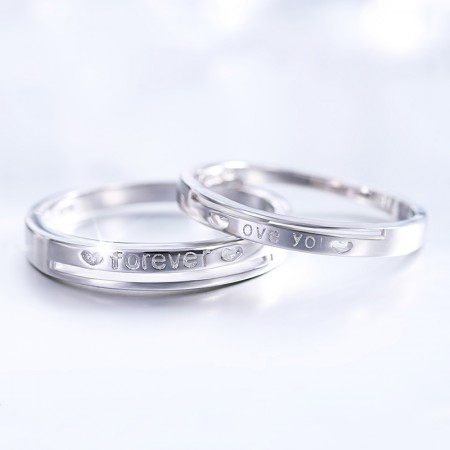 """925 Silver Simple Fashion """"Forever Love You"""" Couple Rings"""