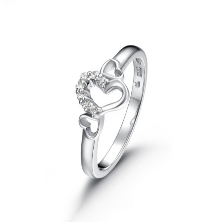 925 Silver Fashion Hollow Heart-Shaped Inlaid Cubic Zirconia Engagement Ring