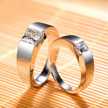 High-End Private Custom Domineering Personality 925 Silver Inlaid Square Cz Couple Rings