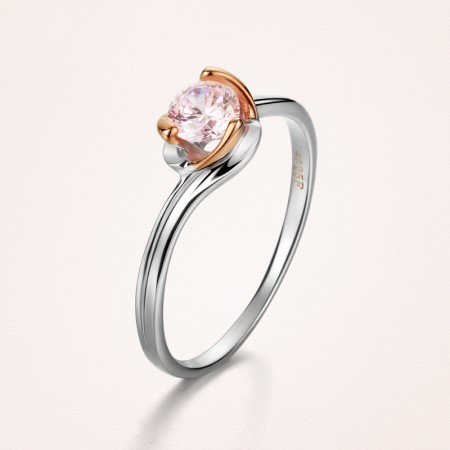 Delicate And Cabinet 925 Silver Plated 18K Gold Set With Pink CZ Engagement Ring