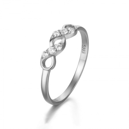 925 Silver Plated 18K Gold Inlaid Cubic Zirconia Twist Hollow Engagement Ring