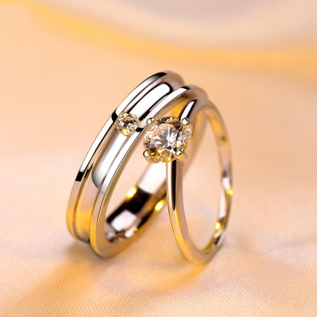 Life Accompanied Classic 925 Silver Inlay Luxury Cubic Zirconia Couple Rings
