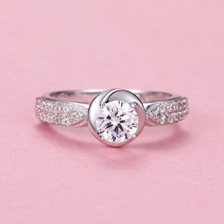 Popular 925 Silver Rose-Shaped Korean Fashion Engagement Ring