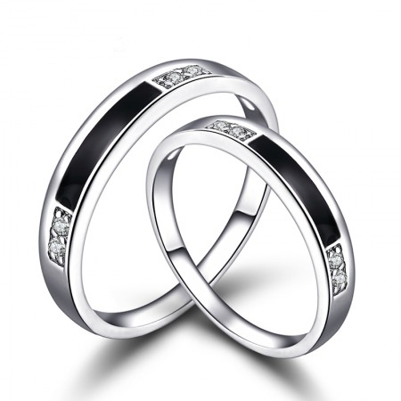 Original Lettering 925 Sterling Silver Plated White Gold Couple Rings