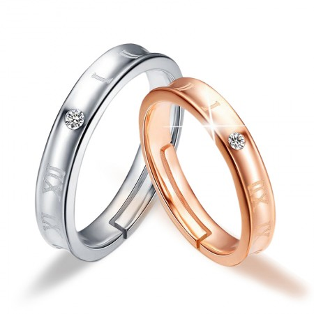 Creative Roman Numerals 925 Silver Electrical Rhodium Couple Rings