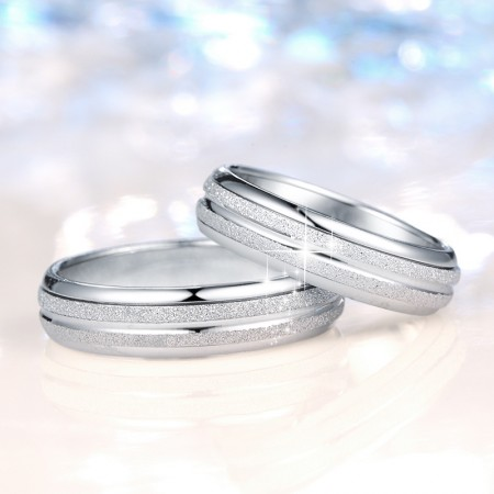 Classic Double Set Design S925 Silver Middle Rotatable Couple Rings