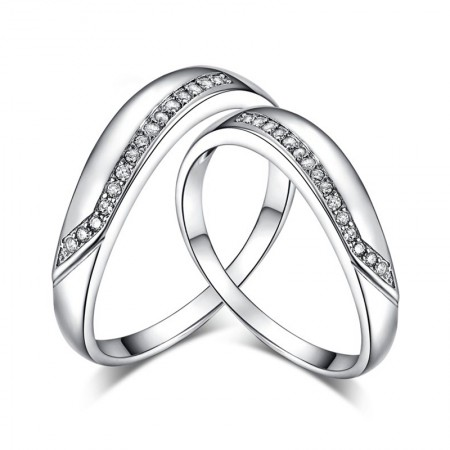 Grade Packaging 925 Silver Korean Romantic Line Couple Rings With CZ