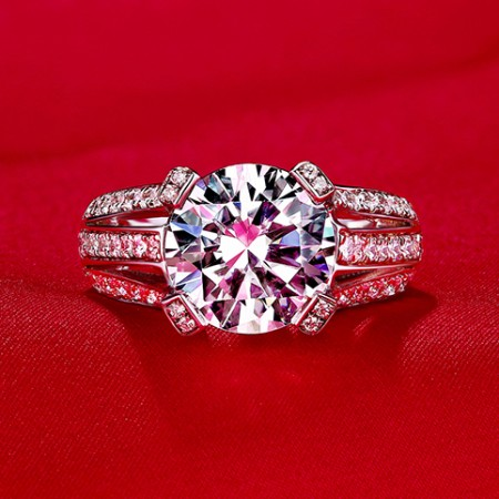 Professional Quality Luxury Group Inlay 2ct Engagement Ring
