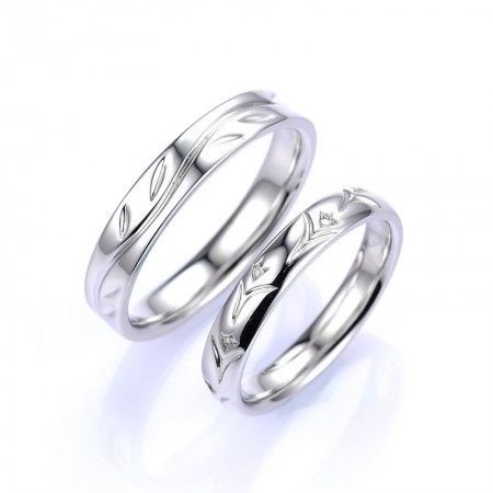 Simple And Stylish Classic Style 925 Silver Lettering Couple Rings