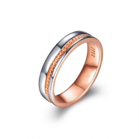 Rose Gold Plated 925 Sterling Silver Wide Beads Edge Woman's Band