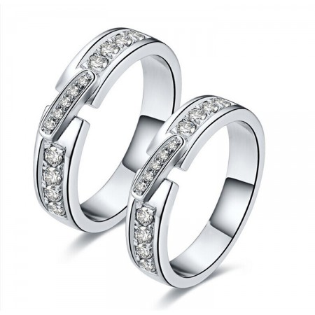 Bright Color Of Fire Gold-Plated Silver Inlay Cubic Zirconia Couple Rings