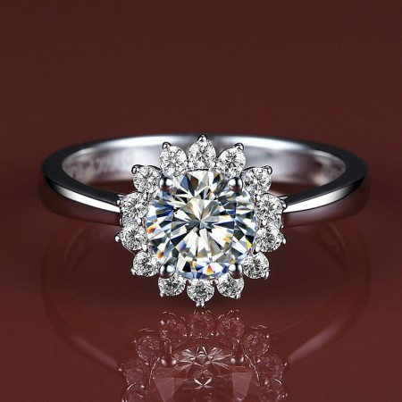 Sunflower Modeling Silver Plated Gold Group Inlay Super Flash CZ Engagement Ring