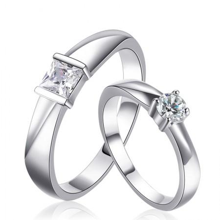 925 Silver Inlay CZ Never Fade No Deformation Couple Rings