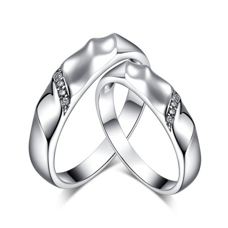 Germany Glossy Polished Sterling Silver Creative Bamboo Couple Rings