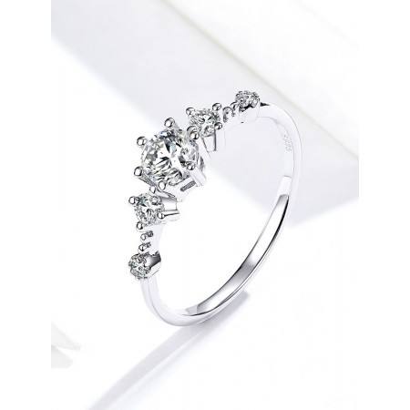 Classic Simple Wild S925 Silver Comfort Cute Engagement Ring