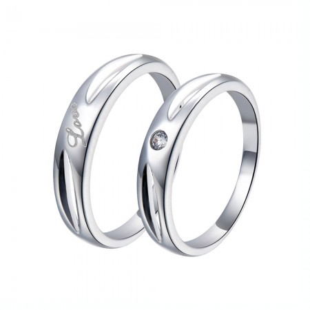 """Luxury Packaging Creative Hollow Design 925 Silver """"LOVE"""" Couple Rings"""