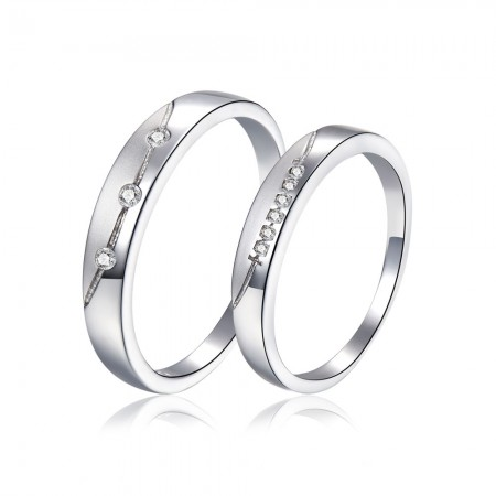 Luxury Packaging Simple Handmade Sterling Silver Couple Rings