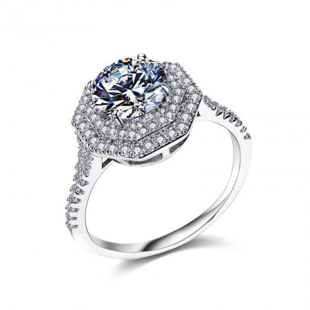 Popular Fashion S925 Silver Inlaid Sparkle CZ Luxury Engagement Ring