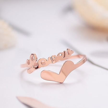 "Korean Fashion 18K Rose Gold Plated Opening ""Love"" Series Ring"
