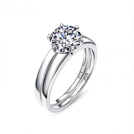 Popular Classic S925 Silver Inlay Six Claw CZ Engagement Ring