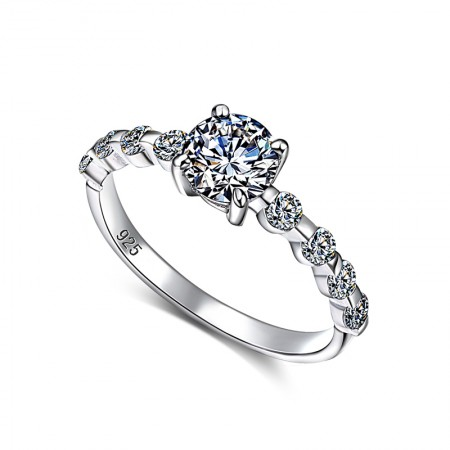 S925 Silver Inlaid CZ Fashion Temperament Slim Engagement Ring