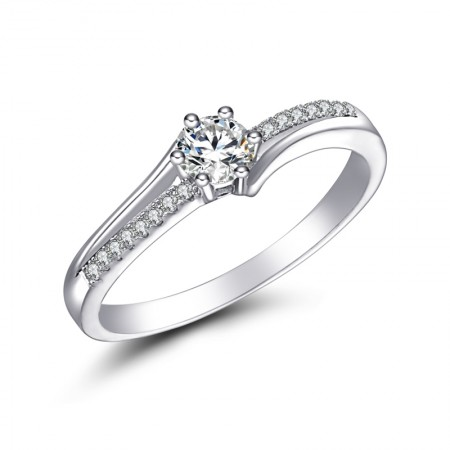 Simple Style And Delicate Smooth S925 Silver Endearing Engagement Ring
