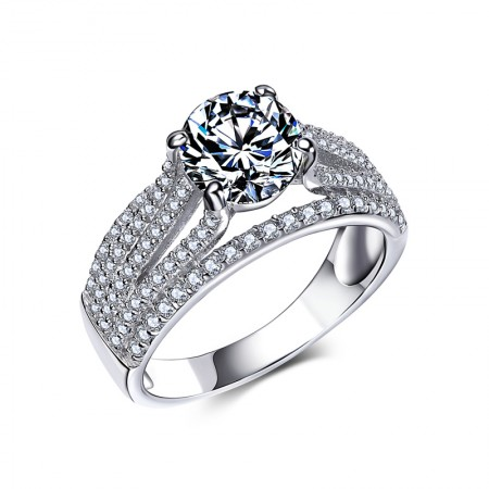 Luxury 925 Silver Inlay Classic Four Claw Cubic Zirconia Engagement Ring
