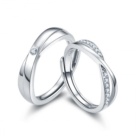 Perfect Gift Romantic Lines Creative Lettering Couple Rings